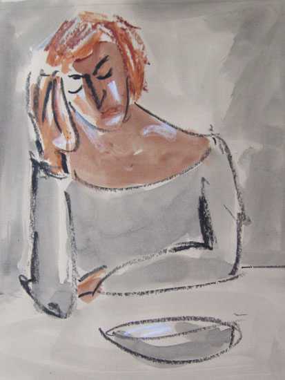 Mike Jones - Woman at Table - Oil on Canvas - 9 x 7.75 inches