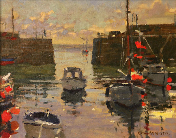 Ken Howard - Mousehole Grey and Red - Oil on Canvas - 9 x 11.5 inches