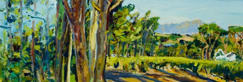 Christopher Johnson - Navarre Panoramic - Oil on Paper - 15.5 x 45 inches