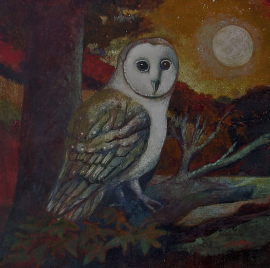 Nicola Slattery - Owl and Moon - Acrylic on Wood - 8 x 8 inches
