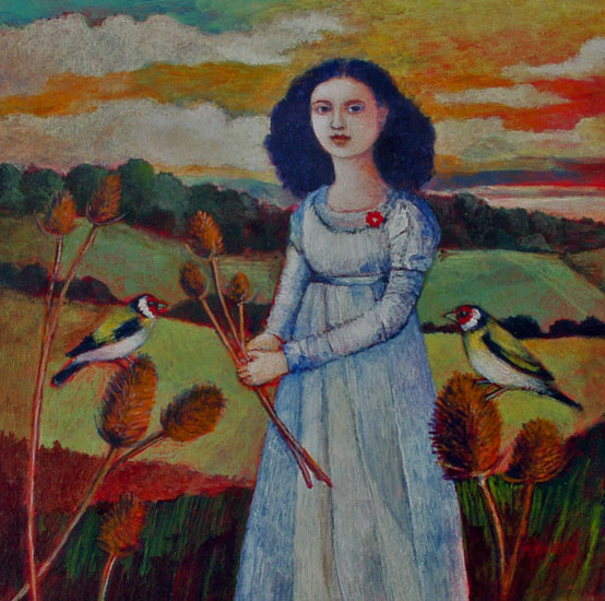 Nicola Slattery - Teasel and Two Finches - Acrylic on Wood - 8 x 8 inches