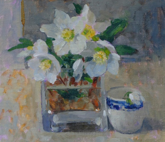 Pamela Kay - Glass of Hellebores and an Egg Cup - Oil on Board - 7 x 8 inches