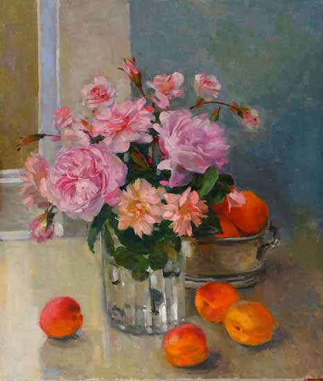 Pamela Kay - Pink Roses and Apricots - Oil on Board - 14 x 12 inches