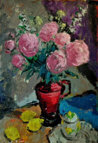 Anthony Yates - Pink Peonies - Oil on Canvas - 30 x 21 inches