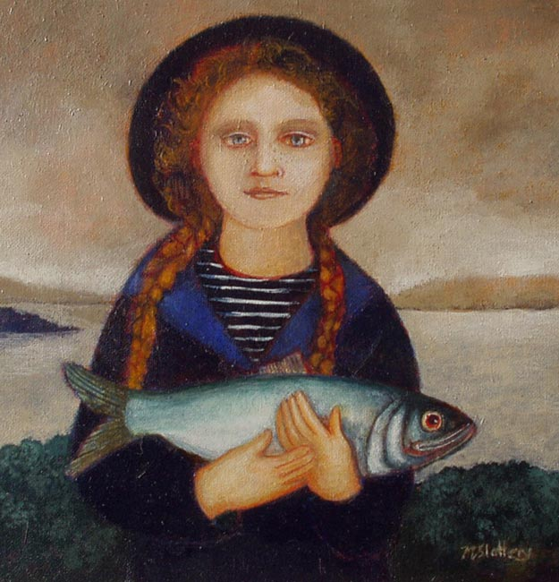 Nicola Slattery - Plaits and Fish - Oil on Board - 8 x 8 inches