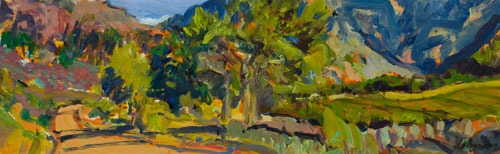 Christopher Johnson - Rhythmic Road Foothills - Oil on Paper - 14 x 45 inches