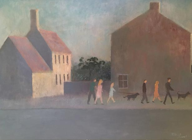 Richard Sorrell - Houses nr St Just - Oil on Board - 18 x 23.5 inches