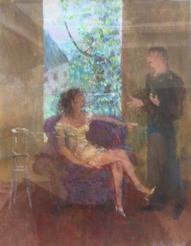 Richard Sorrell - The Chair by the Window - Acrylic on Board - 9.5 x 7 inches