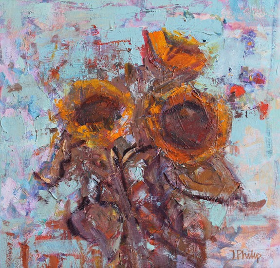 Jackie Philip - Sunflowers - Oil on Canvas - 16 x 16 inches