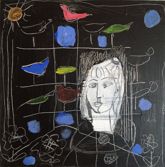Lydia Corbett - Sylvette and the Bird Cage - Acrylic - 13 x 13 inches