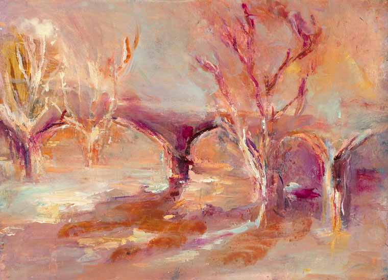 June Redfern - The Red Bridge - Oil on Gesso Card - 10 x 11