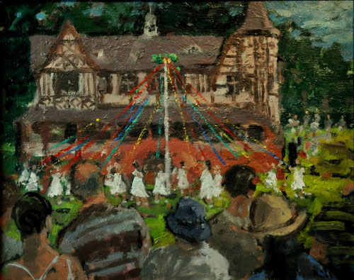 Anthony Yates - The Bournville Maypole - Oil on Board - 14.25 x 18 inches