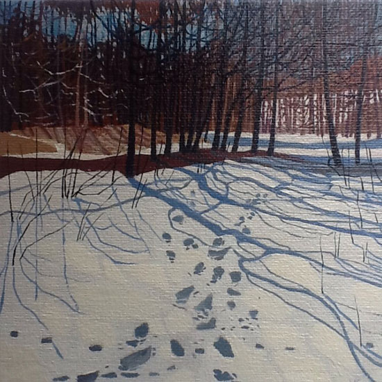 Victor Richardson - Footsteps in the Snow - Oil on Canvas Board - 6 x 6 inches