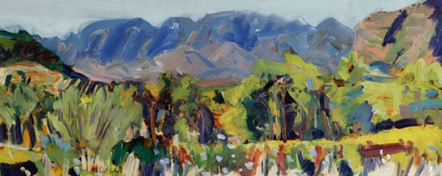 Christopher Johnson - The View from the Olive Shed - Oil on Paper - 18 x 44 inches
