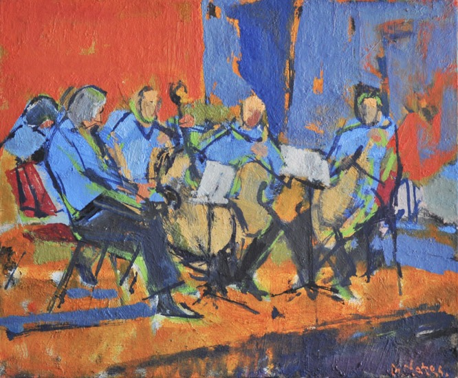 Anthony Yates - Viol Players - Oil on Canvas - 15 x 18 inches