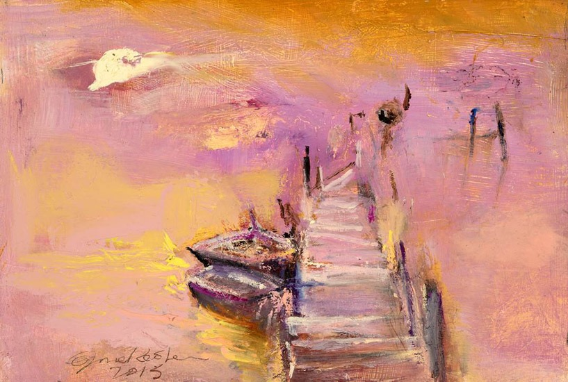 June Redfern - Violet Light - Oil on Board - 11 x 8