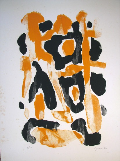 William Gear - Orange / Black (1952) - Screen Print - 22 x 15 inches