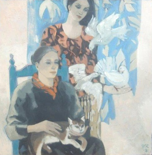 Ursula McCannell - Women with Doves and Cat 1982 - Oil on Board - 36 x 36 inches