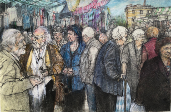 David Carpanini - Buonconvento market studies 1 - Pencil, Watercolour - 10.75 x 16 Inches
