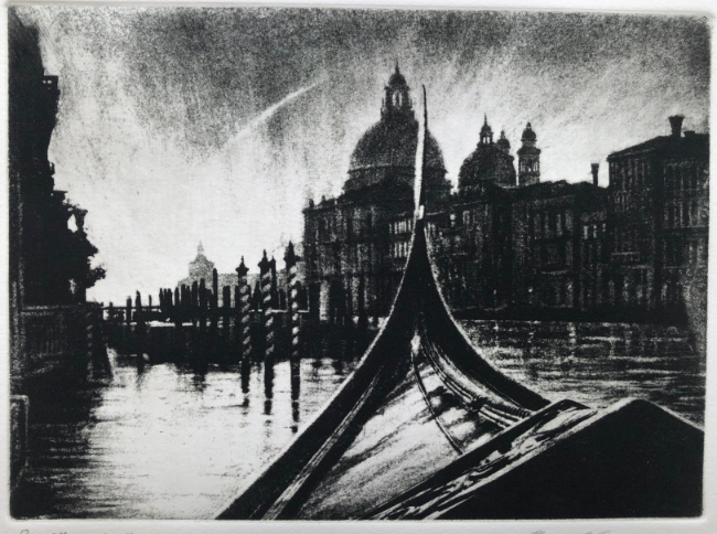David Carpanini - The point of the Dogana, Venice - Etching - 7 x 10 Inches