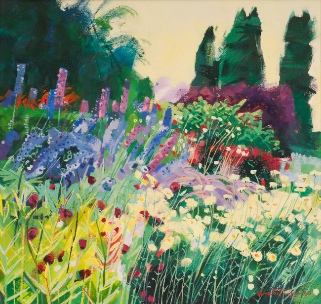 Louis Turpin - Delphiniums in the Border - Oil on Canvas - 15 x 16 inches