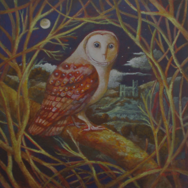 Nicola Slattery - Owl in a Tree - Acrylic on Wood - 8 x 8 inches