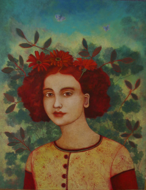 Nicola Slattery - Red Heads and Common Blues - Acrylic on Wood - 20 x 16 inche
