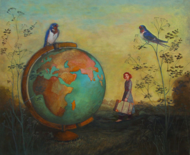 Nicola Slattery - Small World - Acrylic on Wood - 20 x 24 inches