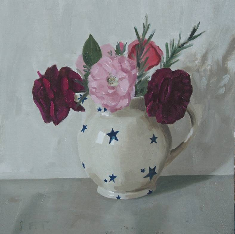 Sam Travers - Roses in a Starry Jug - Oil on Board - 12 x 12 inches