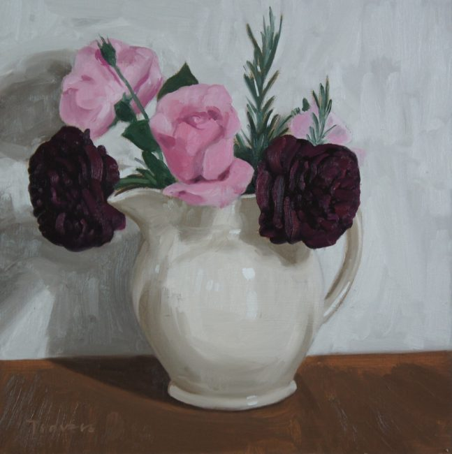 Sam Travers - Roses in Earthenware Jug - Oil on Board  - 12 x 12 inches