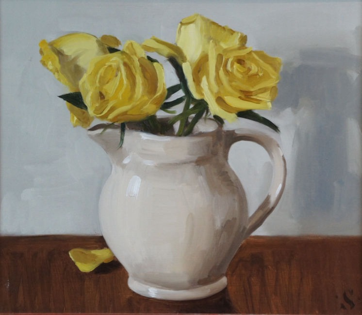 Sam Travers - Yellow roses - Oil on Board - 16 x 16 inches