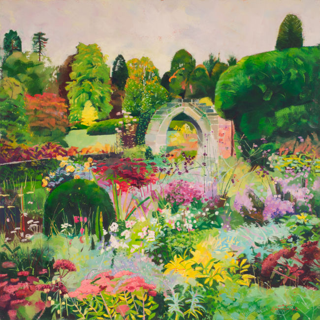 Louis Turpin - Autumn Garden Scotney Castle  - Oil on Canvas  - 20 x 20 inches