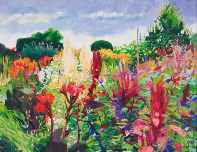 Louis Turpin - Red Cannas - Oil on Canvas - 20 x 26 inches
