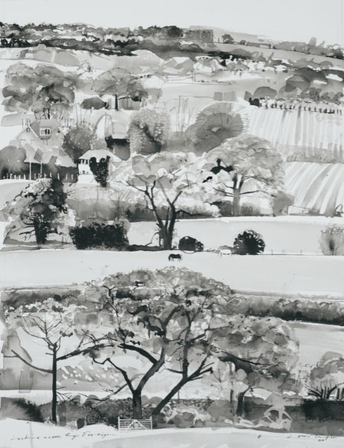 Louis Turpin - View Across Rye Foreign - Ink on Paper - 18 x 24 inches