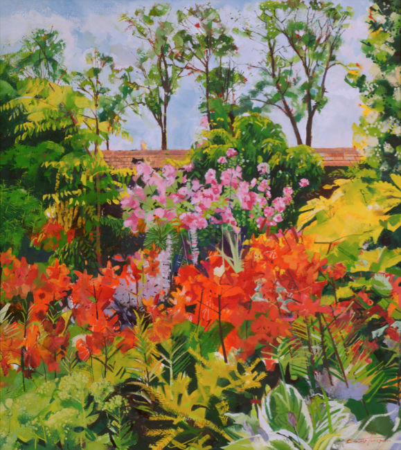 Louis Turpin  - Wall Garden - Oil on Canvas - 20 x 22 inches
