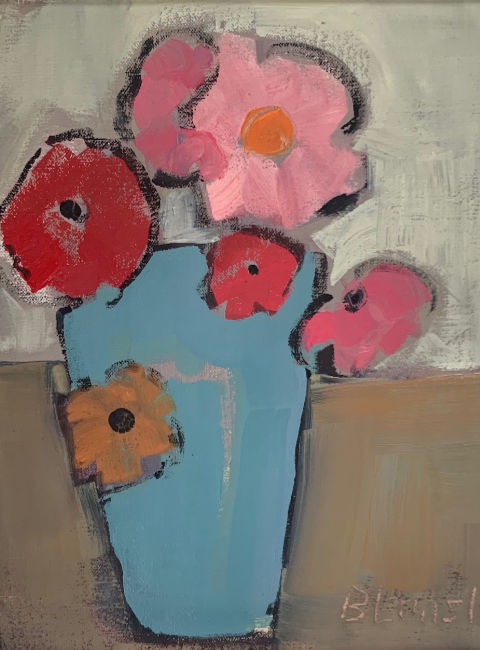Bridget Lansley - Sky Blue Vase - Oil on Canvas - 12 x10 inches