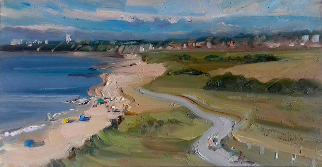Lawrence Quigley - View From Hengistbury Head, Looking West - Oil on Board - 11 x 6 Inches
