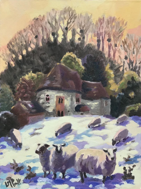 Lucy Pratt - Snow, Sheep and Mistletoe - Oil on Canvas - 16 x 12 Inches