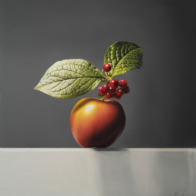 Michael De Bono - Apple, Berries and Leaves - Oil on Panel - 12.5 x 12 Inches