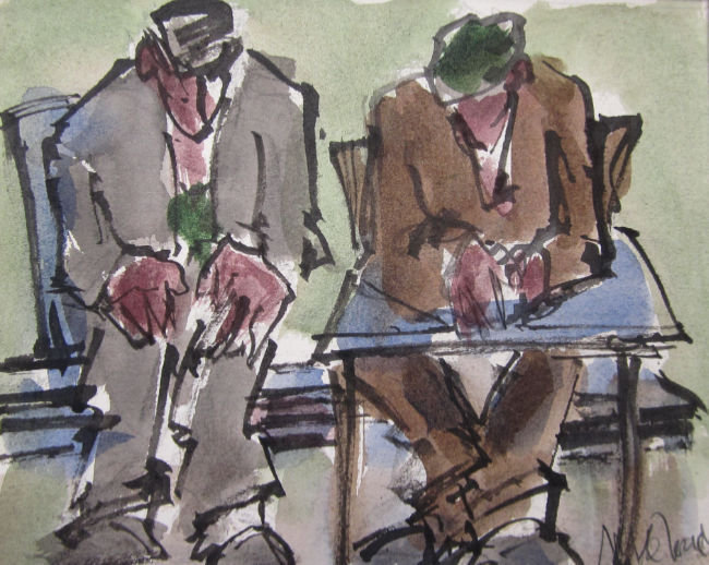 Mike Jones - Men in Cafe - Ink and Colour Wash - 8 x 9.75 Inches