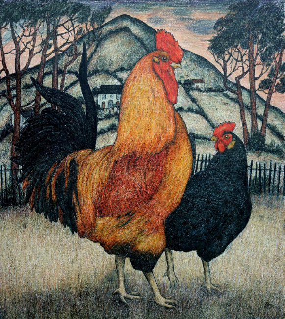 Seren Bell - Rooster, Welsh Hillside - Mixed Media - 20 x 18 Inches