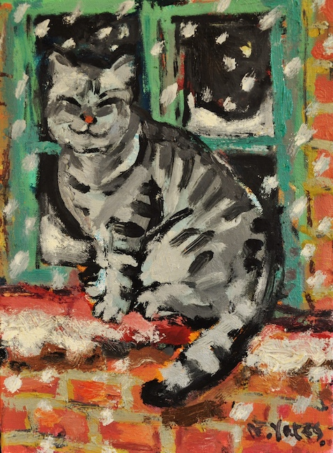 Anthony Yates - Cat on a Snowy Windowsill - Oil on Canvas - 12 x 9 Inches