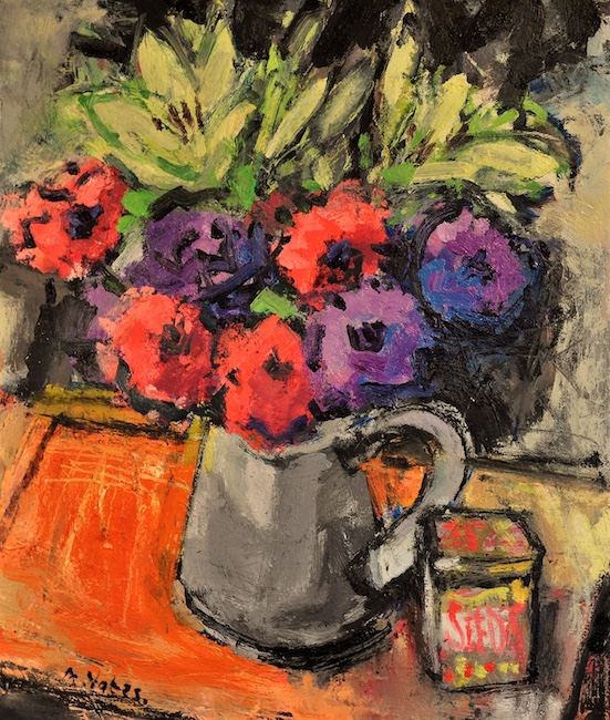 Anthony Yates - Jug of Flowers with Seed Box - Oil on Canvas - 21 x 18 Inches