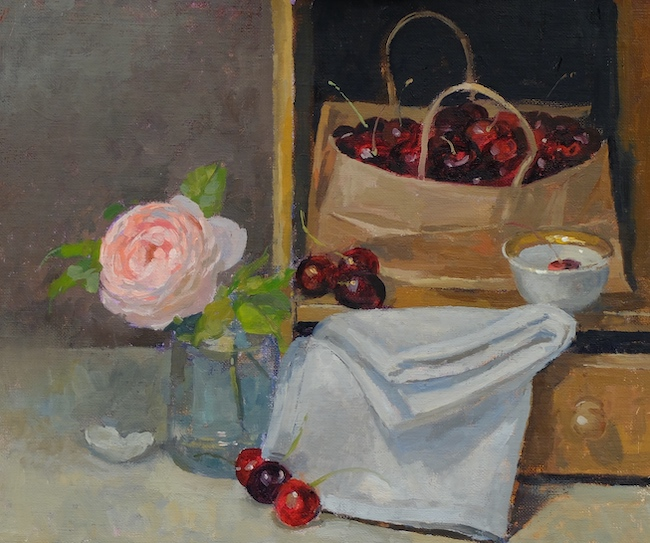 Pamela Kay - Bag of Cherries and a Rose - Oil on Board - 10 x 12 Inches