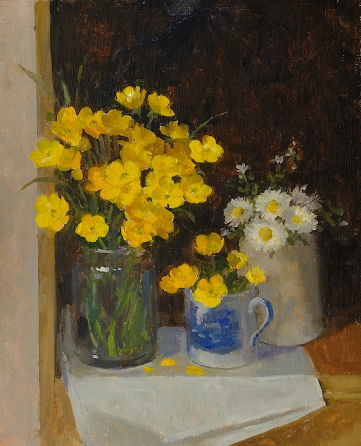 Pamela Kay - Buttercups and Daisies - Oil on Board - 11 x 9 Inches