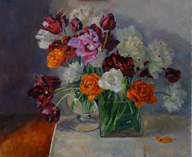 Pamela Kay - Double Tulips - Oil on Canvas - 20 x 24 Inches
