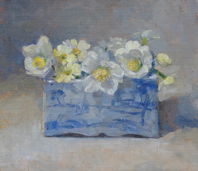 Pamela Kay - Hellebores and Primroses in the Delft Brick - Oil on Board - 7 x 8 Inches