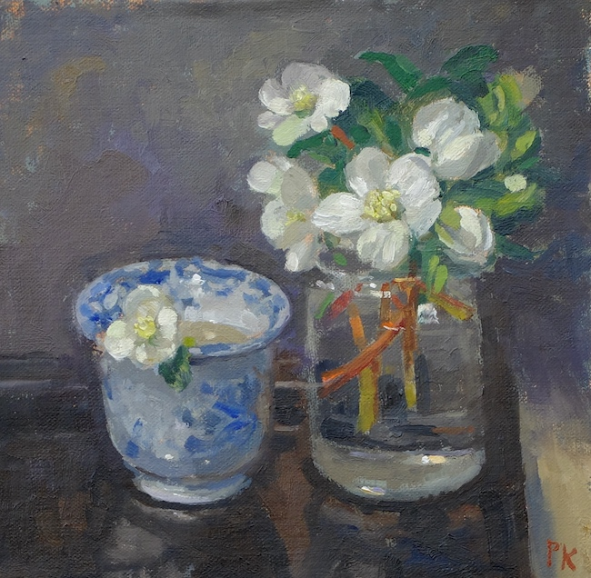 Pamela Kay - Hellebores and a Tea Bowl - Oil on Board - 7 x 7 Inches