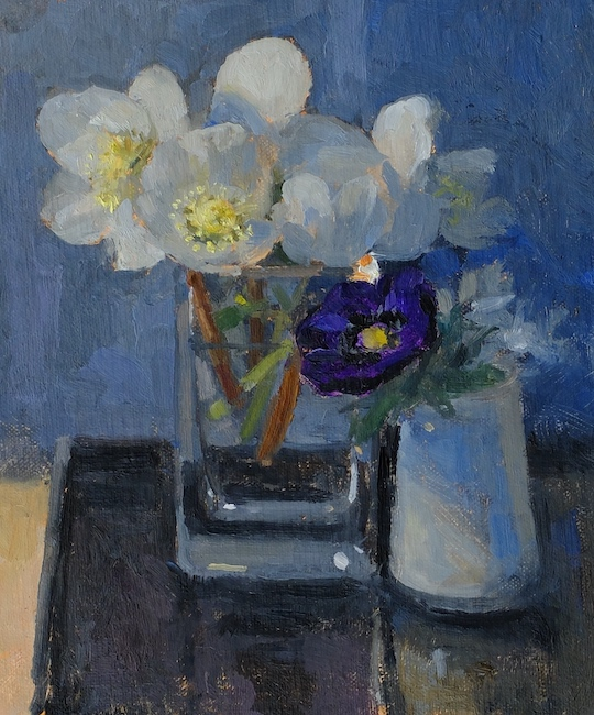 Pamela Kay - Hellebores and an Anemone - Oil on Board - 7 x 6 Inches