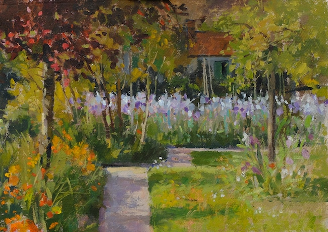 Pamela Kay - Irises in the Orchard - Oil on Board - 10 x 14 Inches